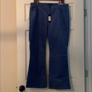 Talbots Corduroy Blue Pants 14P/32 New NWT